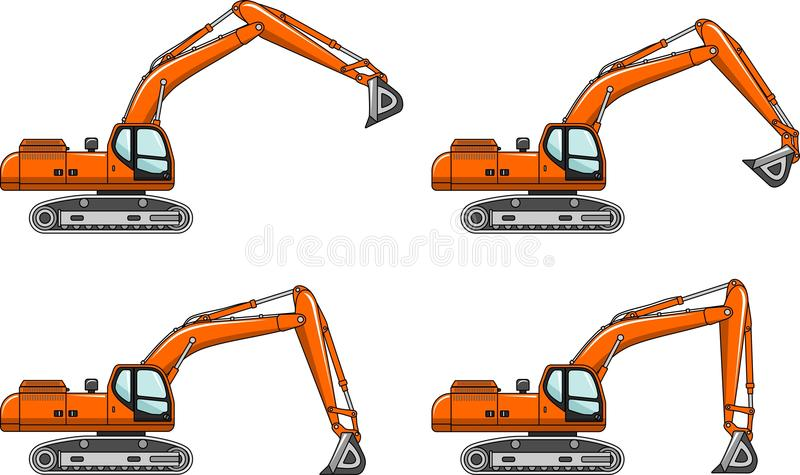 Excavators. Heavy construction machines. Vector illustration. Detailed illustration of excavators, heavy equipment and machinery royalty free illustration