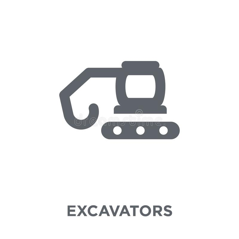 Excavators icon from Transportation collection. Excavators icon. Excavators design concept from Transportation collection. Simple element vector illustration on stock illustration