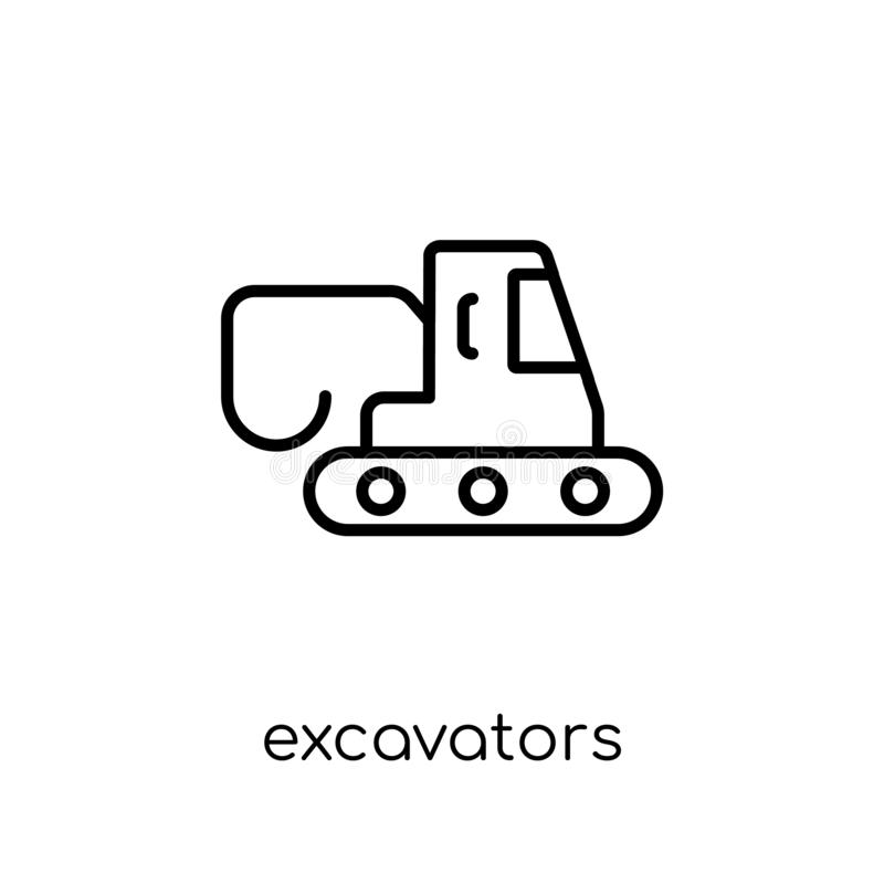 Excavators icon from Transportation collection. Excavators icon. Trendy modern flat linear vector excavators icon on white background from thin line stock illustration