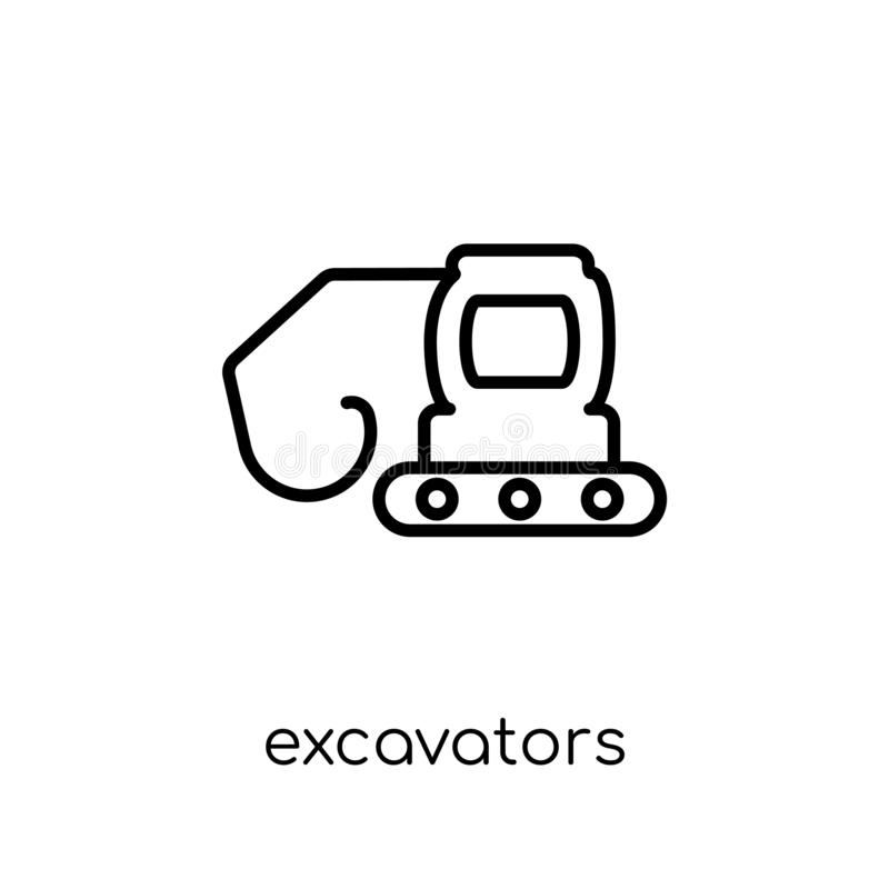 Excavators icon from Transportation collection. Excavators icon. Trendy modern flat linear vector excavators icon on white background from thin line vector illustration