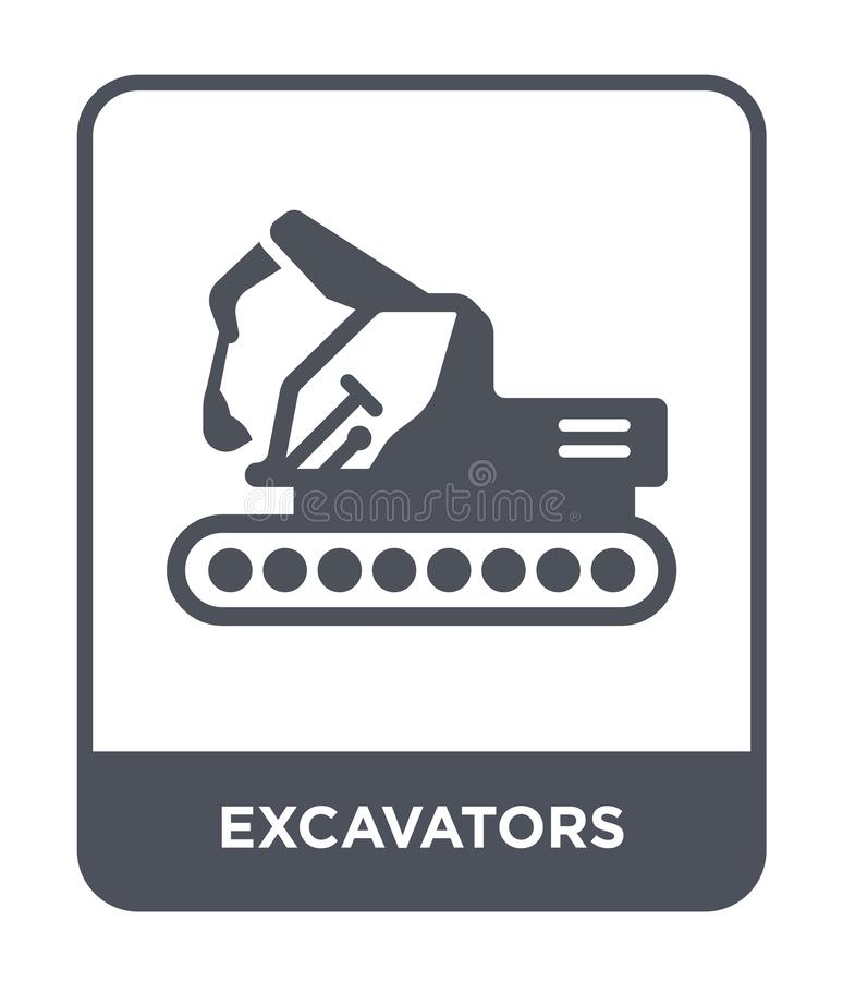 Excavators icon in trendy design style. excavators icon isolated on white background. excavators vector icon simple and modern. Flat symbol for web site, mobile royalty free illustration