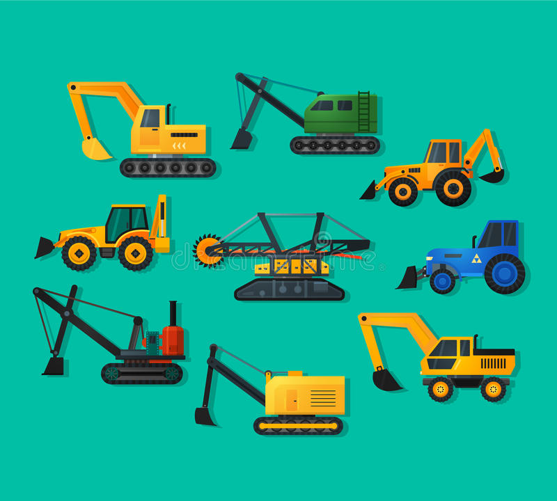 Excavators. Icons in flat style and long shadow. Mining excavator and trucks excavator, old and modern. Detailed flat style vector illustration