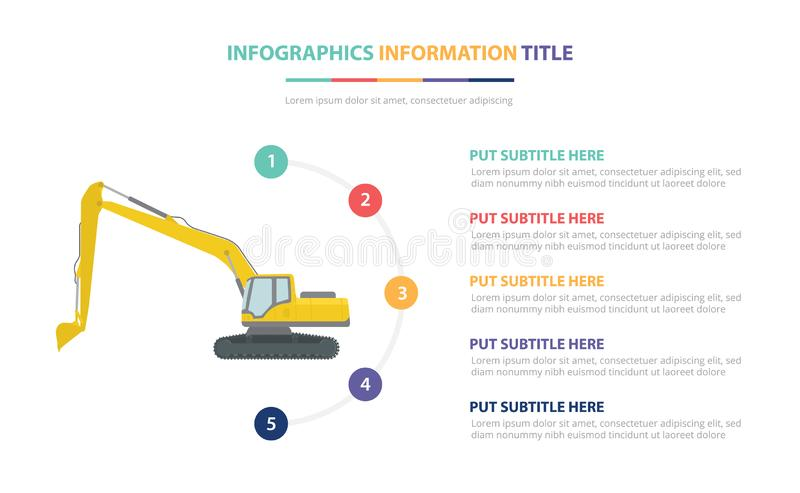Excavators infographic template concept with five points list and various color with clean modern white background - vector. Illustration vector illustration