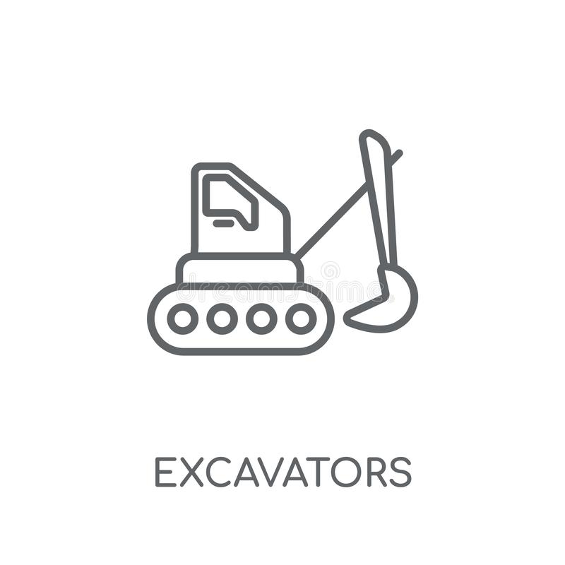 Excavators linear icon. Modern outline Excavators logo concept o. N white background from Transportation collection. Suitable for use on web apps, mobile apps royalty free illustration