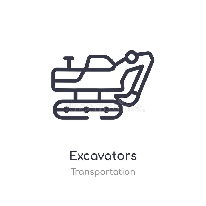 Excavators outline icon. isolated line vector illustration from transportation collection. editable thin stroke excavators icon on. White background royalty free illustration