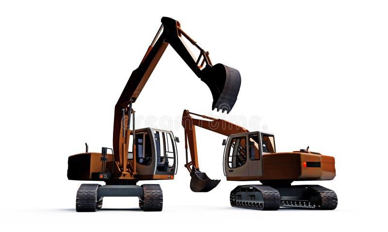 Excavators. On white background royalty free illustration