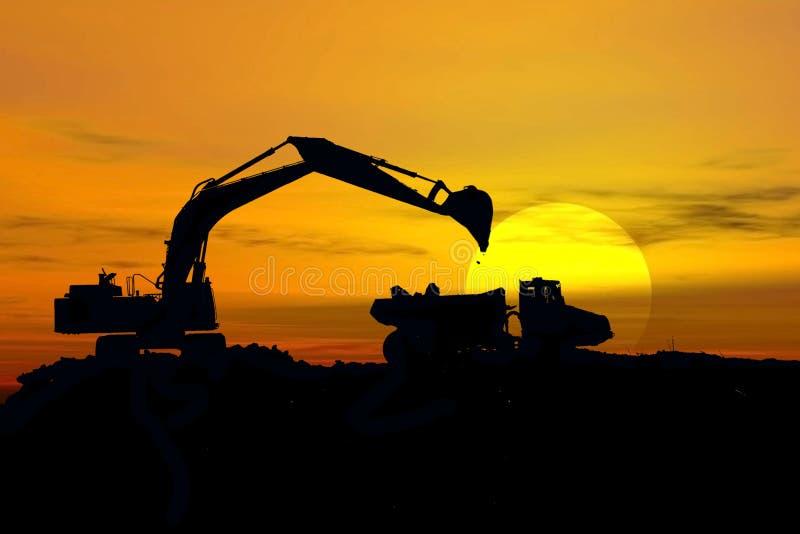 Excavatrice dans la tempête images libres de droits