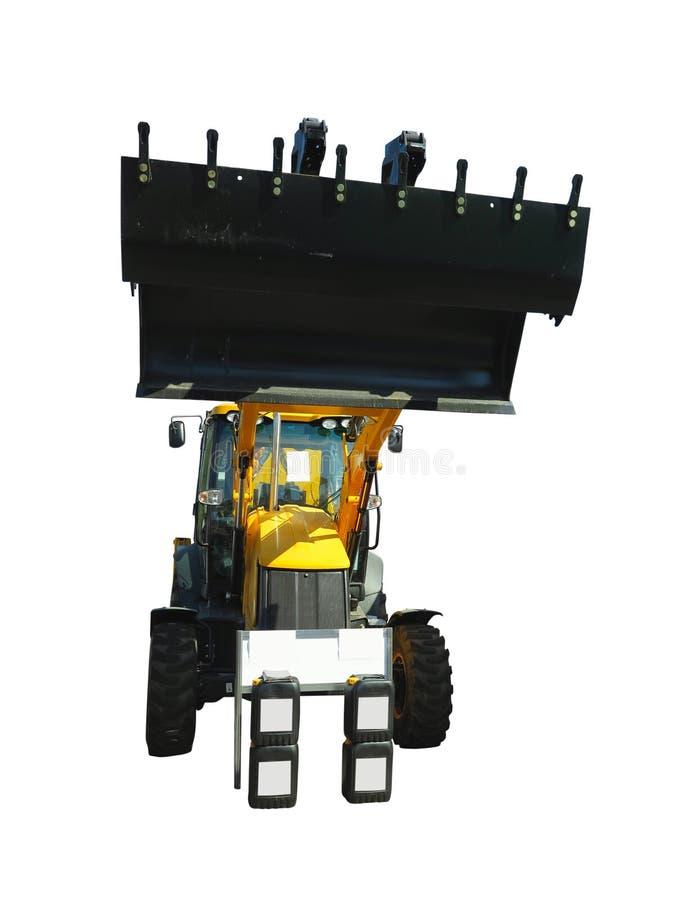Excavatrice de chargeur de tracteur de roue d'isolement sur le fond blanc photographie stock