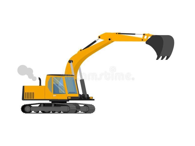 Excavatrice orange de construction de plan rapproché avec la grande pelle illustration stock