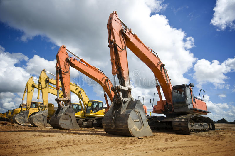 Excavatrices de construction image libre de droits