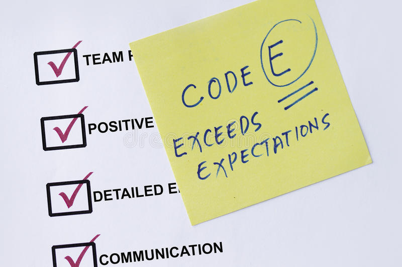 Exceed expectation. Checklist with evaluation remarks and sticky notes royalty free stock image