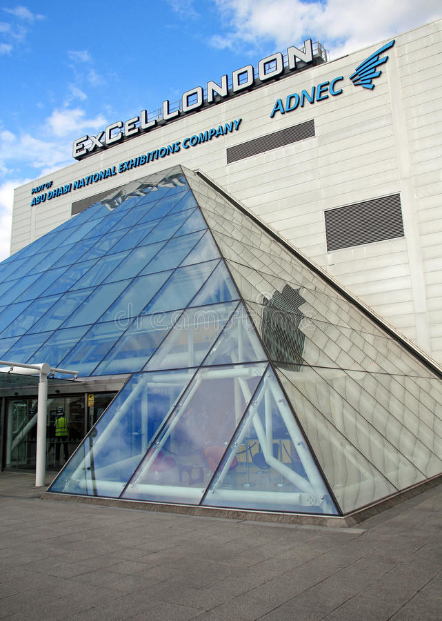 Excel exhibition centre london. Photo of the excel exhibition centre located in docklands london showing glass entrance. photo taken 25th july 2015 and ideal for royalty free stock image