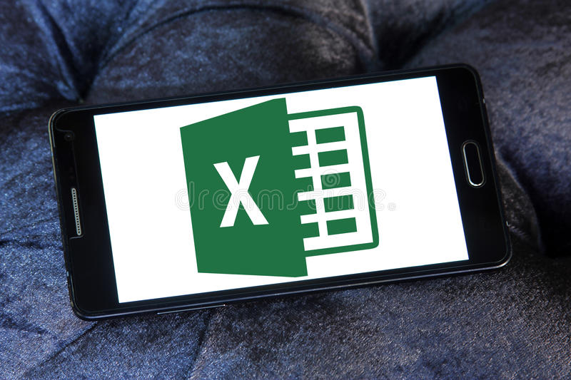 Excel logo. Logo of microsoft office excel program on samsung mobile stock images