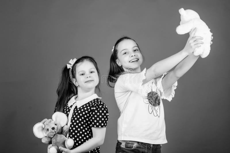 Excellence in early childhood education. Sisters or best friends play with toys. Sweet childhood. Childhood concept stock image