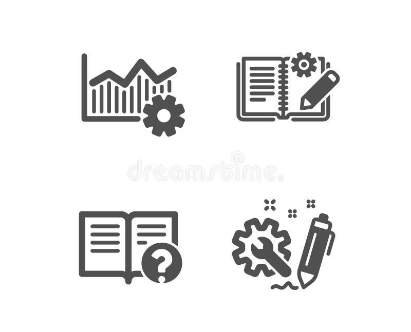 Excellence opérationnelle, aide et construction des icônes de documentation Signe d'ing?nierie Vecteur illustration stock