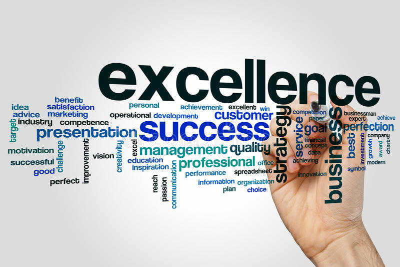 Excellence word cloud concept on grey background royalty free stock photography