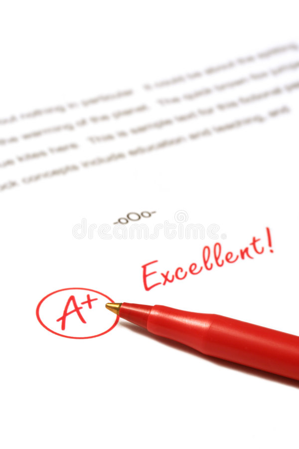 Excellent. A paper is graded A Plus, Excellent, with red pen