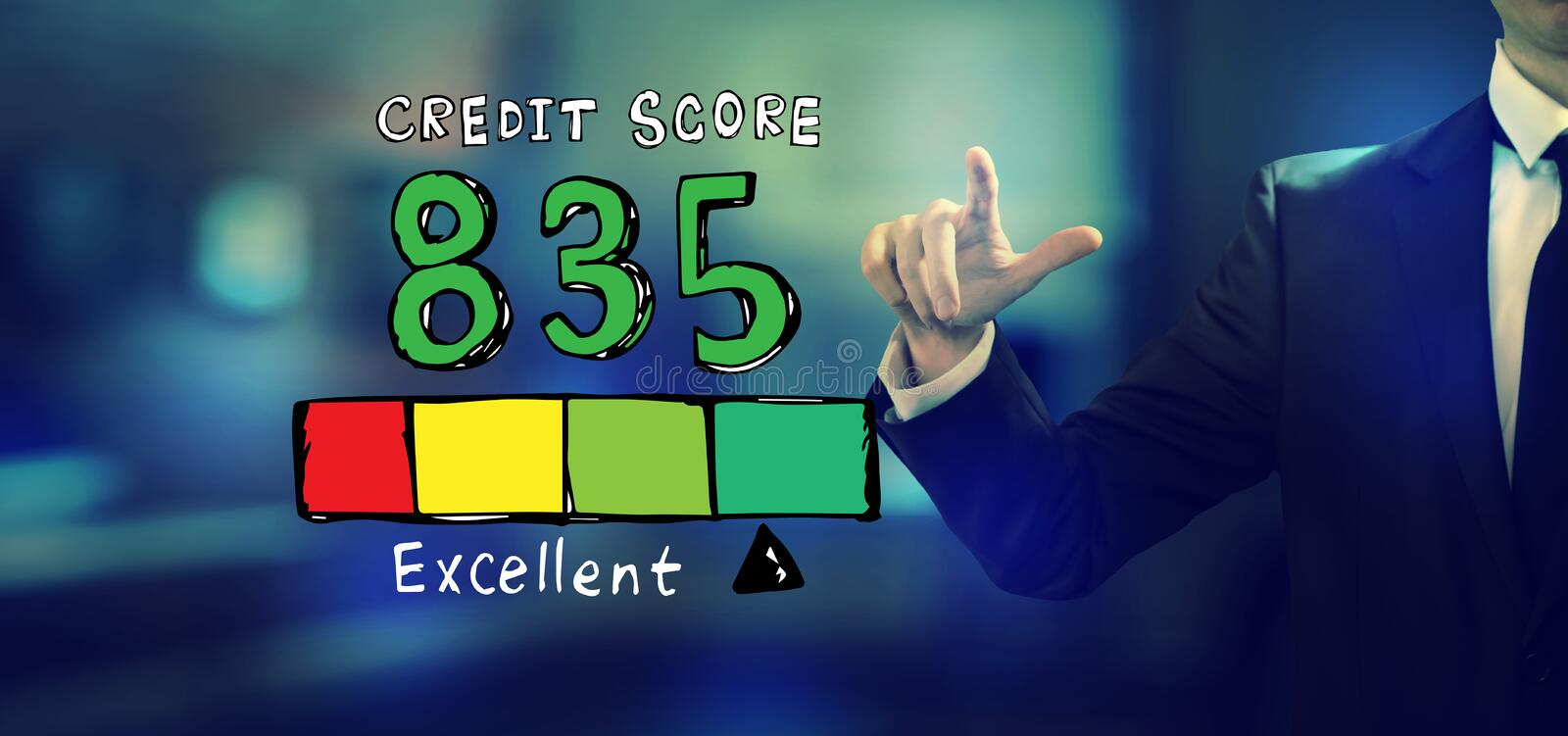 Excellent credit score theme with a businessman. In an office royalty free illustration