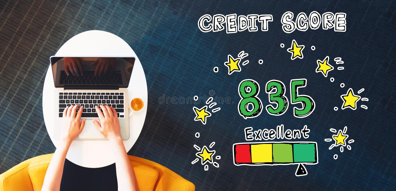 Excellent credit score theme with person using a laptop. On a white table Gold bird ornament in a snow covered landscape royalty free illustration