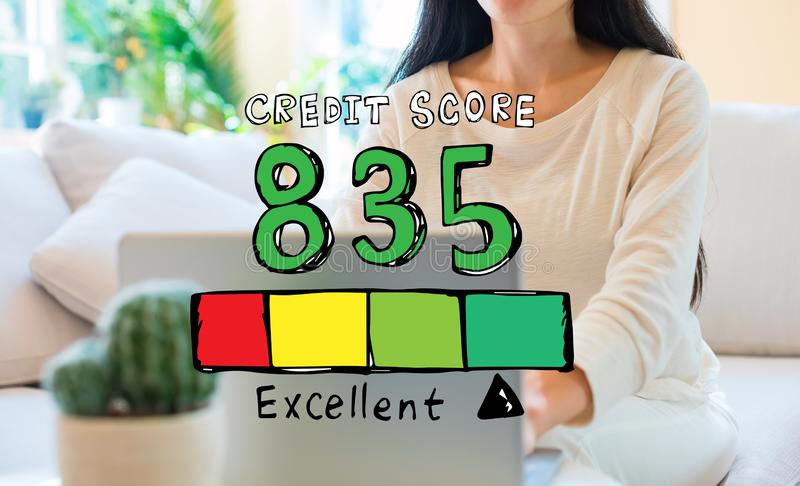 Excellent credit score theme with woman using her laptop. In her home office vector illustration