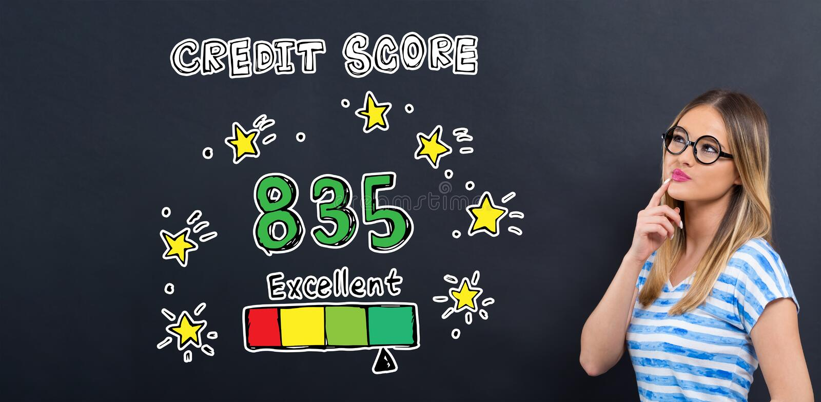 Excellent credit score theme with young woman stock illustration