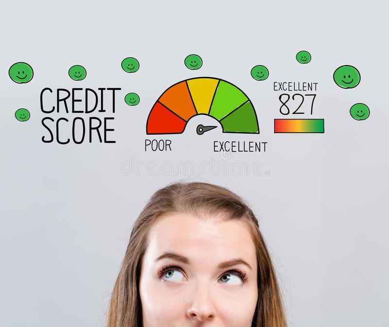 Excellent credit score theme with young woman. Looking upwards vector illustration