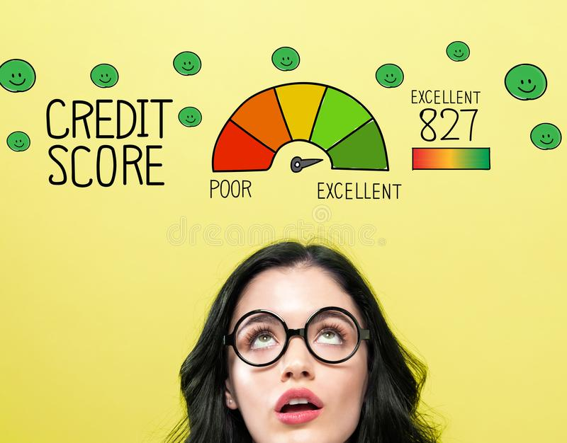Excellent credit score theme with young woman. Wearing eye glasses royalty free illustration