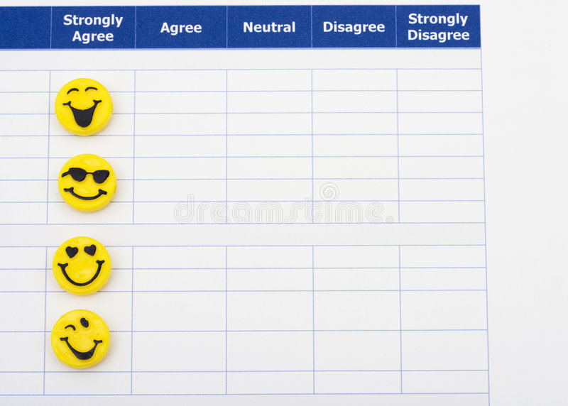 Excellent Customer Service. Close up of survey with happy faces, excellent customer service royalty free stock image