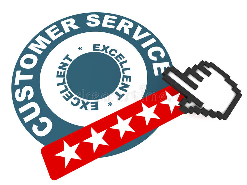 Excellent customer service. Stamp with five stars and hand icon over white background royalty free illustration