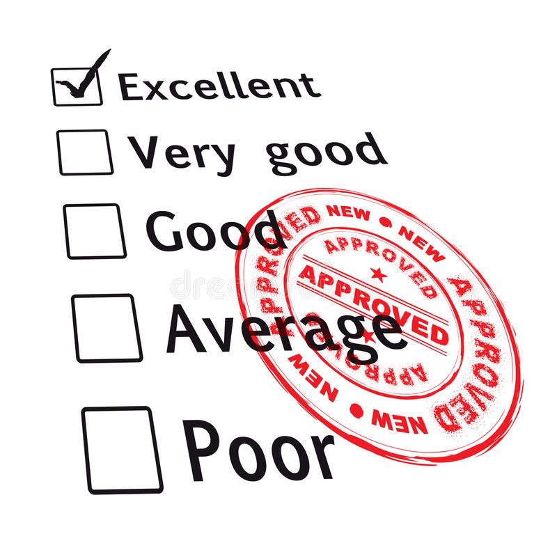 Excellent evaluation pass stock illustration