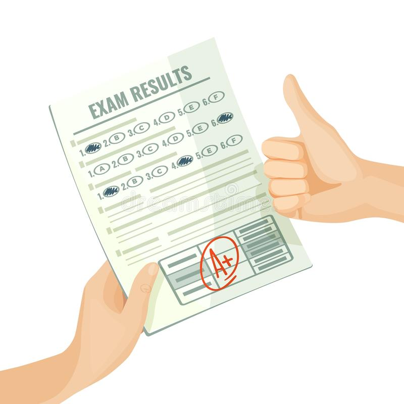 Excellent exam results on paper in human hands stock illustration