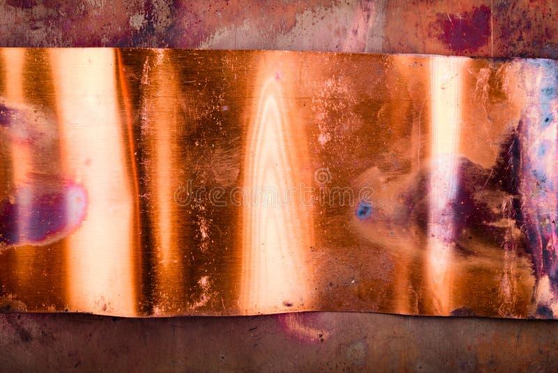Excellent fond de cuivre texturisé en métal photographie stock