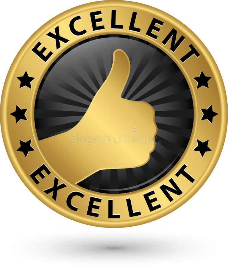 Excellent golden sign with thumb up, vector illustration royalty free illustration