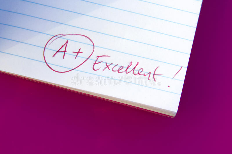 Excellent grade. Comment on bottom of work indicating excellent grade stock image