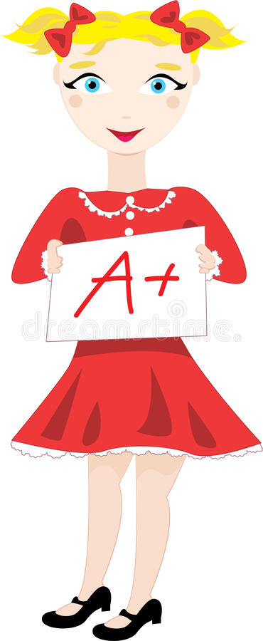 Excellent Grade. Vector cartoon clip art of a schoolgirl smiling and showing her excellent a plus grade. No gradients used; isolated on white vector illustration