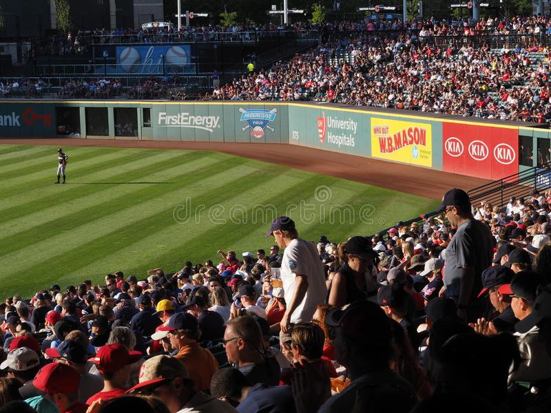 An excellent look at Ichiro standing in right field in Cleveland, Ohio - USA - OHIO. Progressive Field is a baseball park located in the downtown area of stock photo