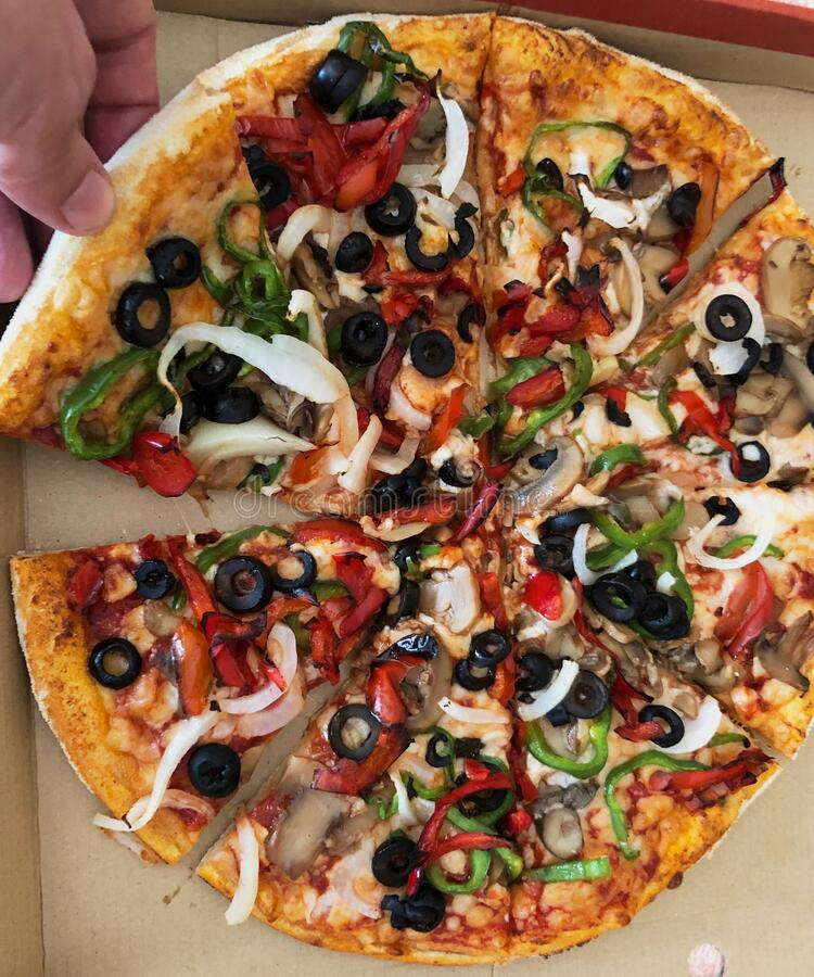 excellent vegetarian pizza with peppers, mushrooms, onion, tomato, cheese, mozzarella royalty free stock photo