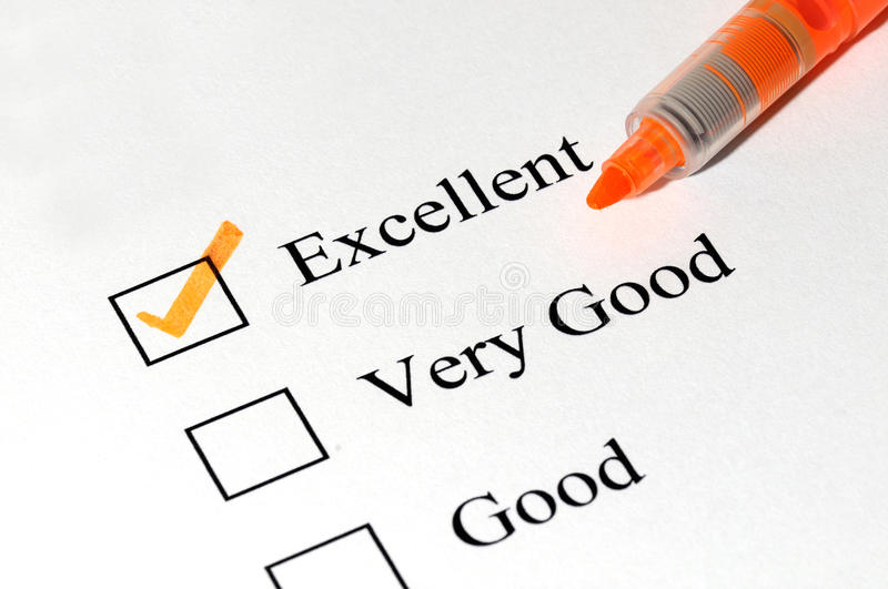 Excellent very good checkboxes royalty free stock photography
