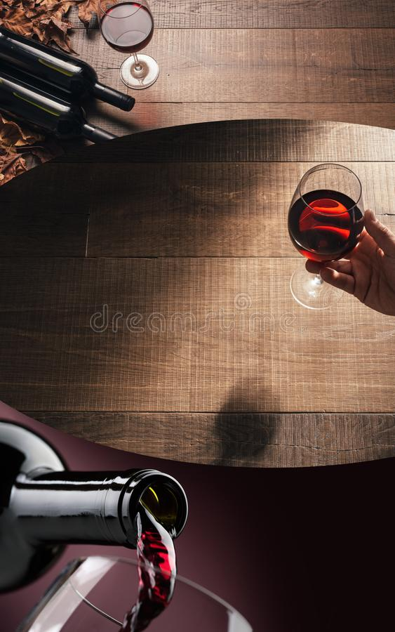 Red wine tasting stock image