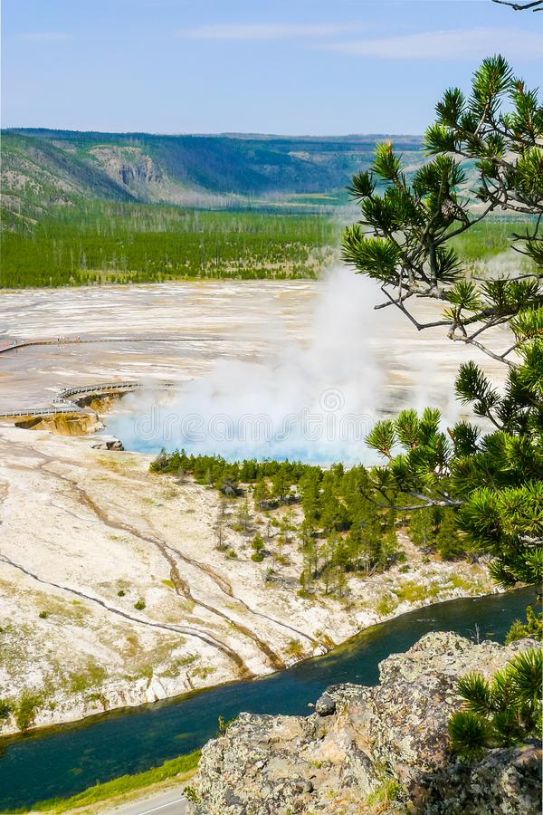 Excelsior Geyser Yellowstone Park aerial view royalty free stock photography