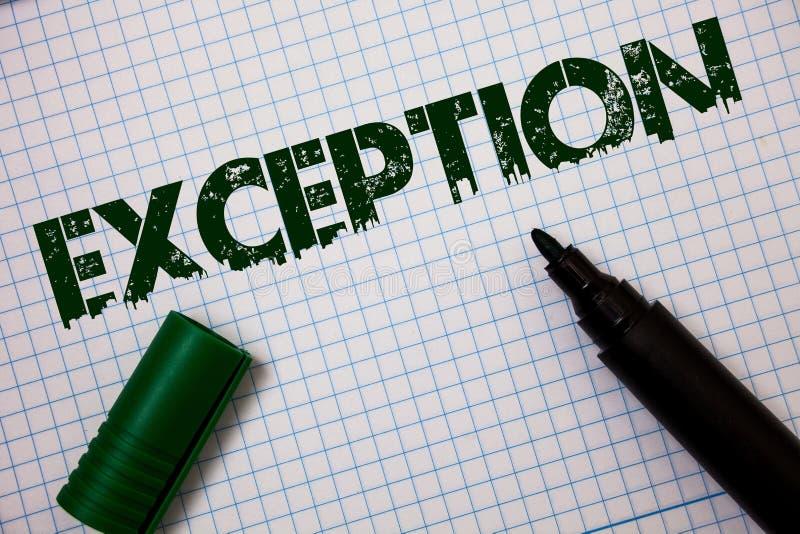 Exception des textes d'écriture de Word Concept d'affaires pour la personne ou la chose qui sont exclues de différents messages d images libres de droits
