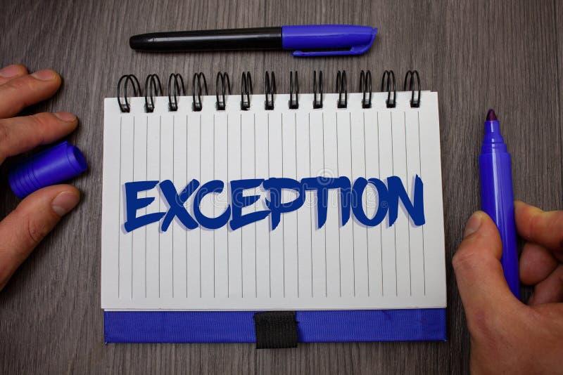 Exception des textes d'écriture de Word Concept d'affaires pour la personne ou la chose qui sont exclues du holdi différent de pr photographie stock libre de droits