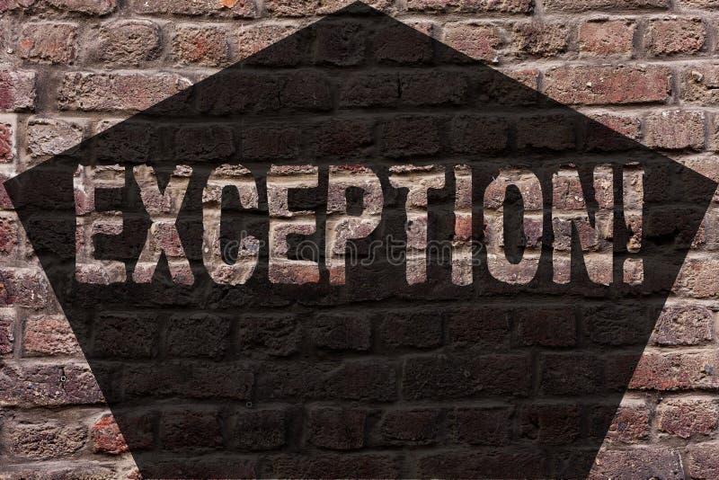 Exception des textes d'écriture Personne ou chose de signification de concept qui sont exclues du mur de briques différent de déc photo libre de droits