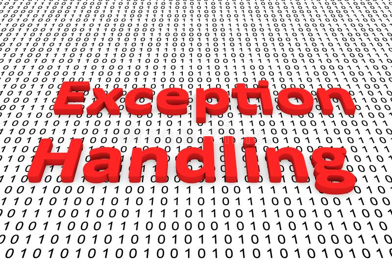 Exception handling. In the form of binary code, 3D illustration royalty free illustration