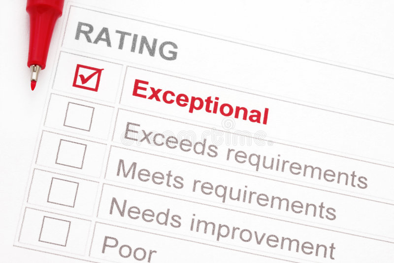 Exceptional Rating stock photography