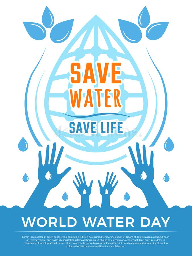 Excepto a água O líquido do Aqua deixa cair a imagem do conceito do vetor do cartaz dos cuidados médicos para o dia da água ilustração stock