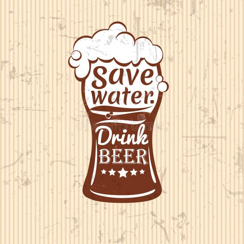 Excepto el agua ejemplo del vector de la cerveza de la bebida Composición de las letras ilustración del vector