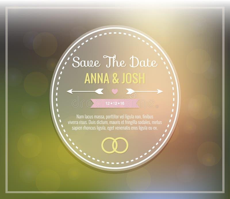 Excepto la fecha Invitación de la boda ilustración del vector