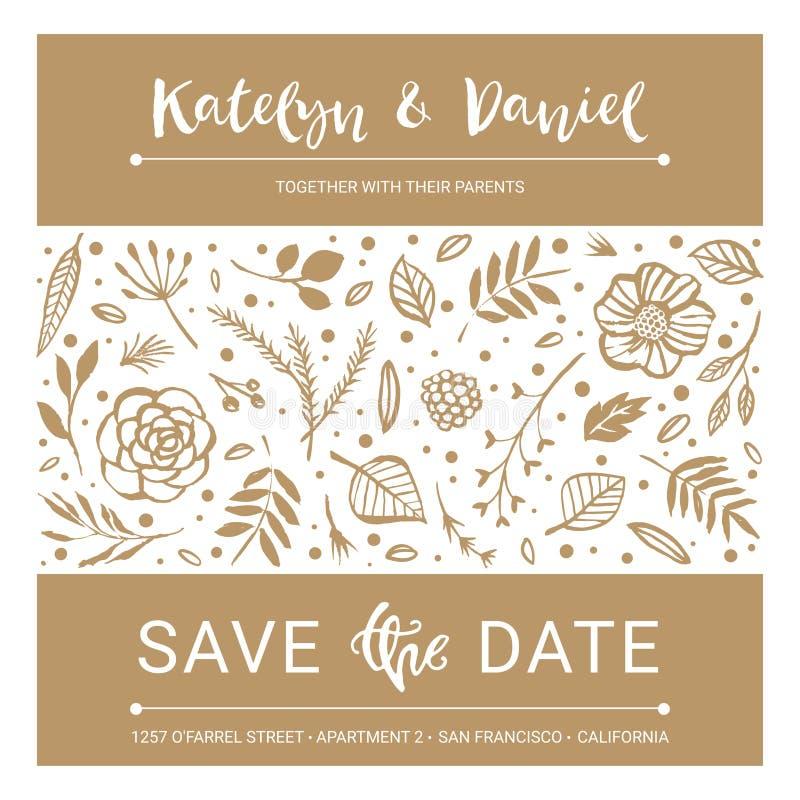 Excepto la fecha Tarjeta floral de la caligrafía de la invitación de la boda con c ilustración del vector