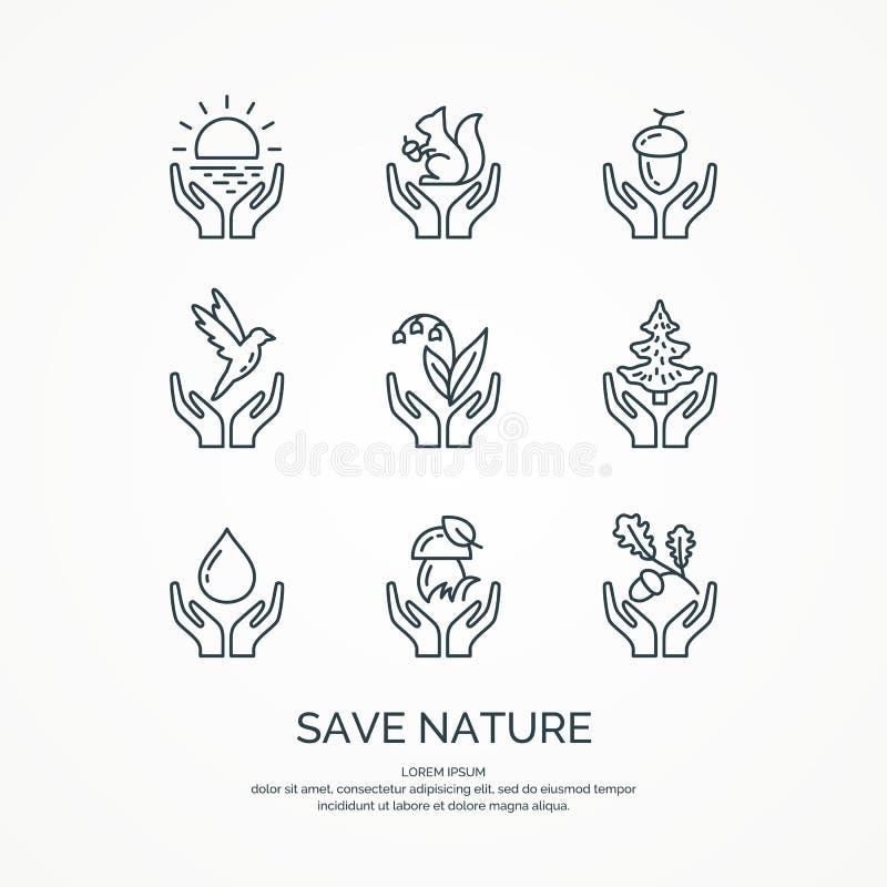 Excepto a natureza O grupo de floresta linear dos ícones Animais e plantas do vetor ilustração stock